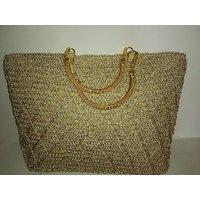 Hand-Made Crochet Party-Wear Golden Bag