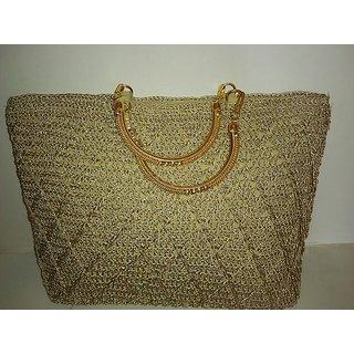 2f9d1287d5e1 Hand-Made Crochet Party-Wear Golden Bag