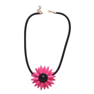 Women Jewellery, Women's Dark Pink Floral Rhinestone Pendant Necklace