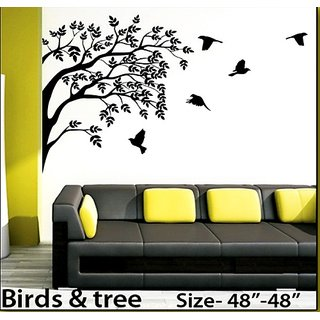 wall stencils birds  tree