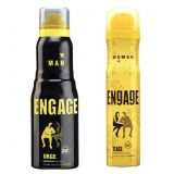 Engage  Deo (Urge, Tease) Pack Of 2- 165ml Each  Men--  Women