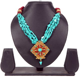 Envy Jewellery Gold Plating Turquoise & red Necklace