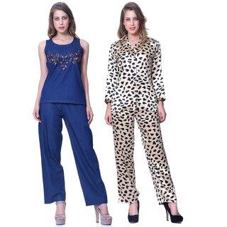 Sleepins blue & Leopard Print Top& payjama Set Half Sleeve Nightwear Combo Of 2