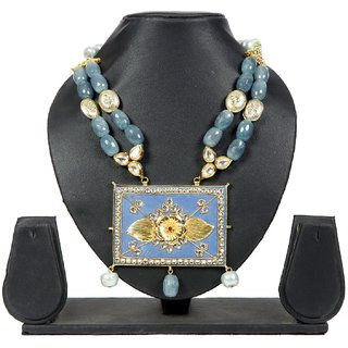 Envy Jewellery Gold Plating Blueish Grey Necklace