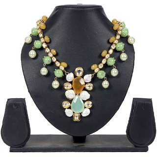 Envy Jewellery Gold Plating Green & Yellow Necklace