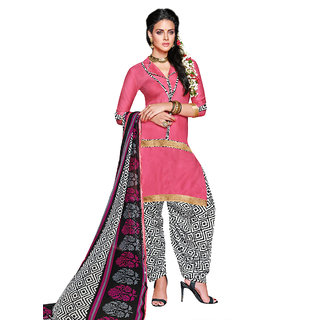 05282d548a00 Swaron Pink White coloured Mix Cotton Dress Material 239D8016