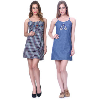 Sleepins Plain Blue & Chk Blue Color Babydoll Sleeveless Cotton Nightwear Combo