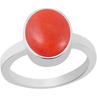 6 Ratti Precious Red Coral Moonga Silver Ring in All Sizes