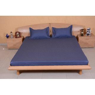 DIVINE CASA 100  Cotton Satin 200 Tc 1 CM Stripe Golden Yellow Color Reactive Dying Double Bedsheets
