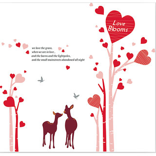 Asmi Collections Pink Tree with Pretty Heart And Deer Wall Sticker AY883