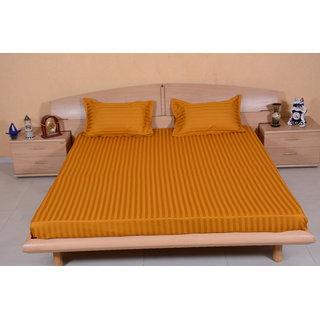 DIVINE CASA 100  Cotton Satin 300 Tc 2 CM Stripe Golden Brown Color Reactive Dying Double Bedsheets