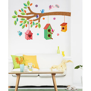 Asmi Collections Tree Branch Birds Nest PVC Wall Sticker JM7222