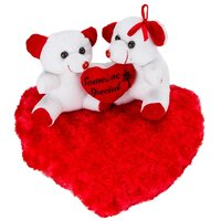 White Red Couple Teddy Bears On Blooming Red Heart- 11 Inch