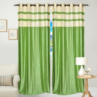 Fresh From Loom  Plain Eyelet Long Door Curtain (Set of 2)