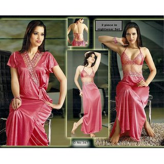 Online Daily Wear 2pc Nighty   Over Coat 337 XXL Sleep Wear Set Bed Pink  Babdoll Slip Prices - Shopclues India 0afc684bb