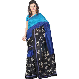 Lookslady Maroon Art Silk Batik Print Saree With Blouse