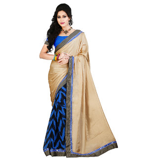 Lookslady Blue Raw Silk Printed Saree With Blouse