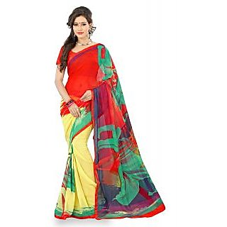 Lookslady Red Brocade Printed Saree With Blouse