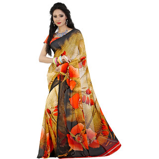 Lookslady Brown & Pink Georgette Striped Saree With Blouse