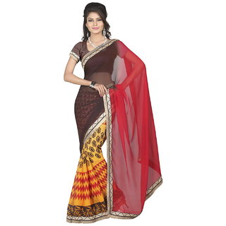 Lookslady Brown & Red Georgette Printed Saree With Blouse
