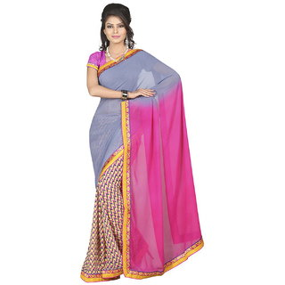 Lookslady Pink & Grey Georgette Printed Saree With Blouse