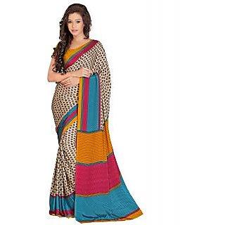 Lookslady Blue Banarasi Silk Printed Saree With Blouse