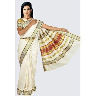 Fashionkiosks Kerala Milk White Colour Pure Cotton Kasavu Grand Mushroom Design Pallu Saree With Blouse Attached