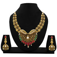 Zaveri Pearls Gold Plated Multicolor Alloy Necklace Set For Women