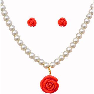 Classique Designer Jewellery Glamorous Floral Pearl Necklace Set (cp546)