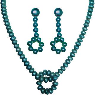 Classique Designer Jewellery Bright Green Pearl Necklace Set (cp191)