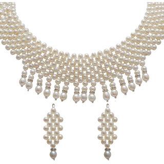 Classique Designer Jewellery Choker White Pearl Necklace Set (cp250)