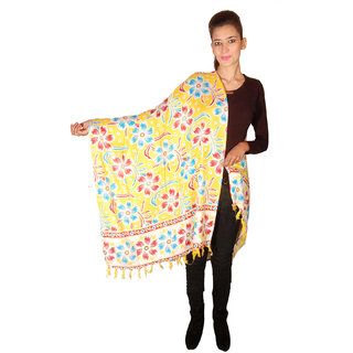 Dulhan Choice Yellow colour Flora Print Cotton Dupatta (DC4002)