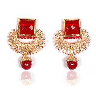 Sunehri Red drop Earrings