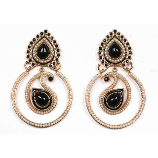Sunehri Pearl Paisley Black Earrings
