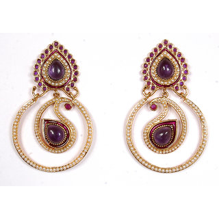 Sunehri Pearl Paisley Purple Earrings