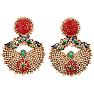 Sunehri Peacock Crafted Ethnic Earrings