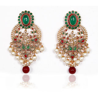 Sunehri Emerald Ruby Traditional Earrings