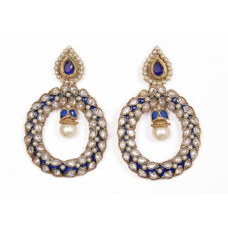 Sunehri Polki Blue Earrings
