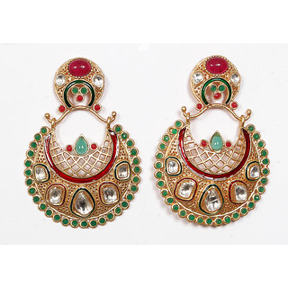 Sunehri Kundan Ruby Emerald Earrings