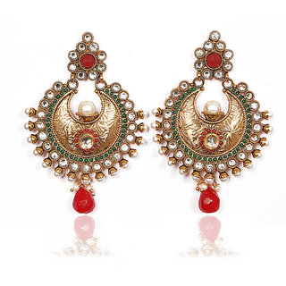 Sunehri Ruby Emerald Handcrafted Earrings
