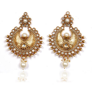 Sunehri Pearl and Kundan Handcrafted Earrings