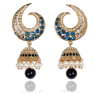 Sunehri Moon Shaped Blue Jhumka