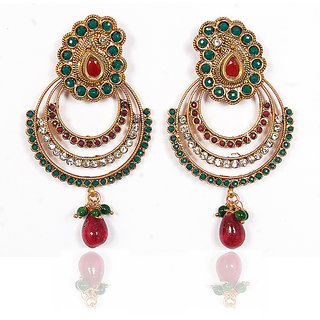 Sunehri Ruby Emerald Three Layer Earrings