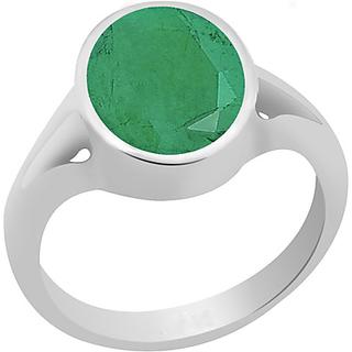 9 Ratti Emerald(Panna) Stone Silver Ring