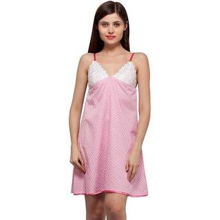 Trendy Comfortable V neck Pink Polka Dots Cotton Sleeveless short Nighty