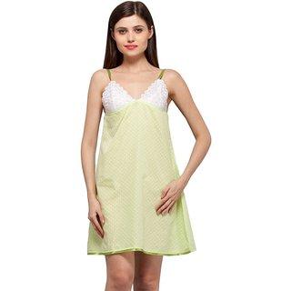 Trendy Comfortable V neck Green Polka Dots Cotton Sleeveless short Nighty
