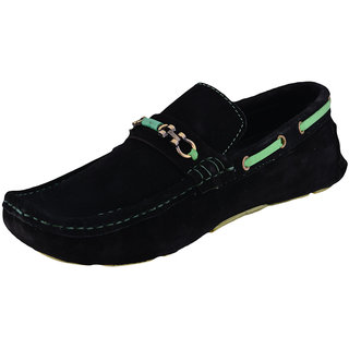 Men's Faux suede leather Black Loafers