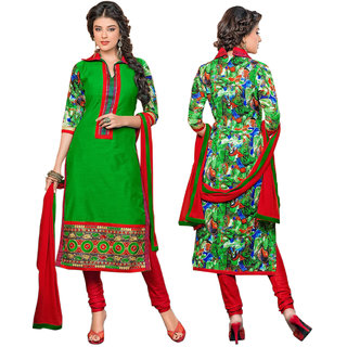 Orabelle Green Embroidered beautiful Chanderi unstitched suit 717