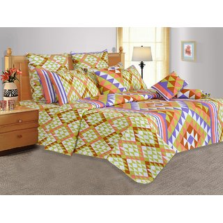 Salona Bichona 100 Cotton Double Bedsheet with Two Pillow Covers