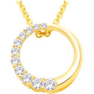 Hoop Silver Cz Diamond Gold Plated Pendant (Design 3)